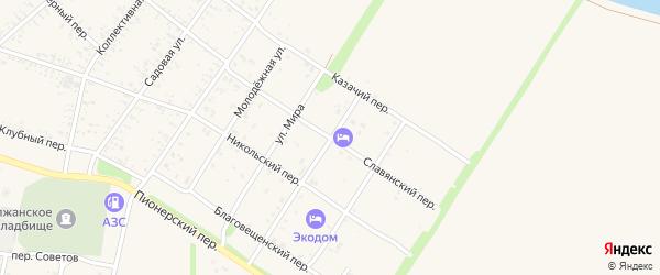 Славянский переулок на карте Должанской станицы Краснодарского края с номерами домов