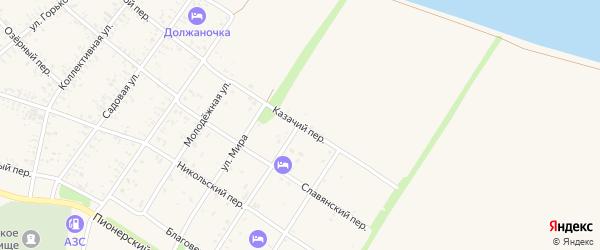 Казачий переулок на карте Должанской станицы Краснодарского края с номерами домов