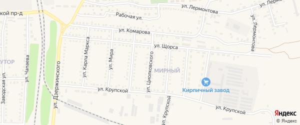 Улица Циолковского на карте поселка Чернянка с номерами домов