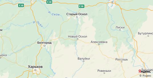 Карта Новооскольского района Белгородской области с городами и населенными пунктами