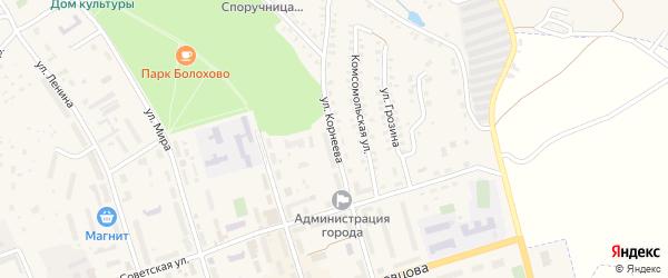 Улица Корнеева на карте Болохово с номерами домов