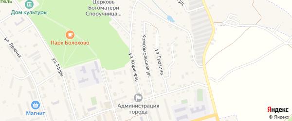 Комсомольская улица на карте Болохово с номерами домов