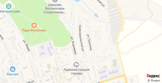 Комсомольская улица в Болохово с номерами домов на карте. Спутник и схема онлайн