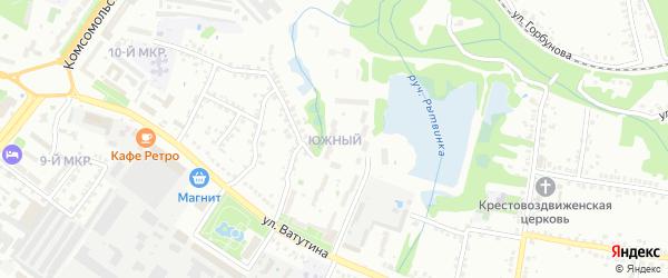 Южный микрорайон на карте Старого Оскола с номерами домов