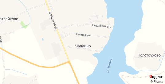 Карта поселка Чаплино в Калязине с улицами, домами и почтовыми отделениями со спутника онлайн