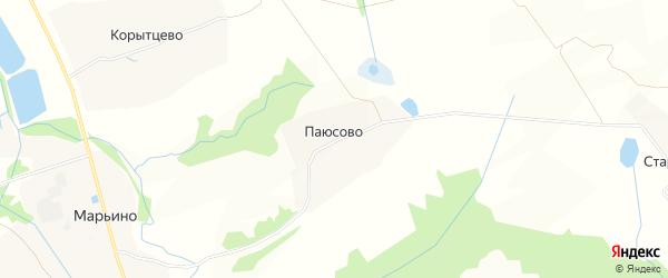 Карта деревни Паюсово в Московской области с улицами и номерами домов