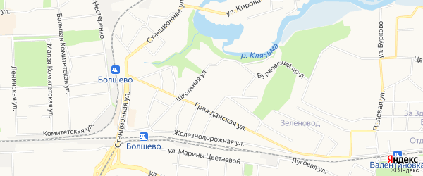 Карта микрорайона Болшево города Королёва в Московской области с улицами и номерами домов