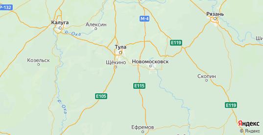 Карта Киреевского района Тульской области с городами и населенными пунктами