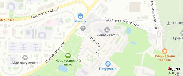 Мирской проезд на карте Балашихи с номерами домов