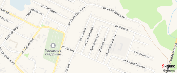 Улица Строителей на карте Нового Оскола с номерами домов