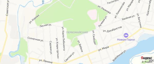 Карта Первомайского микрорайона города Королёва в Московской области с улицами и номерами домов