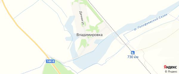 Карта хутора Владимировки в Белгородской области с улицами и номерами домов