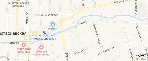 Красноармейская улица на карте Анастасиевской станицы Краснодарского края с номерами домов