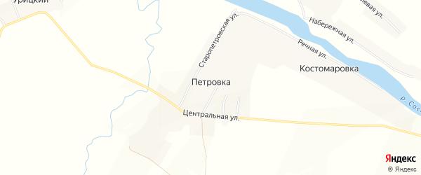 Карта деревни Петровки в Орловской области с улицами и номерами домов