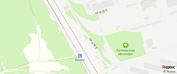 Проезд М-5 на карте станции Котла с номерами домов