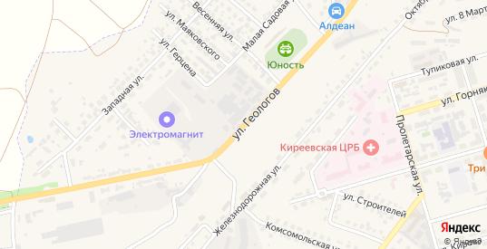Улица Геологов в Киреевске с номерами домов на карте. Спутник и схема онлайн