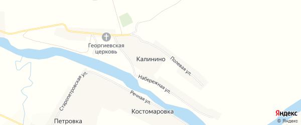 Карта села Калинино в Орловской области с улицами и номерами домов