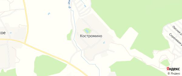 Карта деревни Костромино в Московской области с улицами и номерами домов