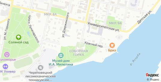 Красный переулок в Череповце с номерами домов на карте. Спутник и схема онлайн