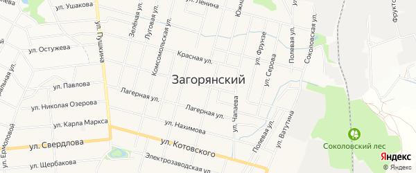 Карта Загорянского поселка в Московской области с улицами и номерами домов