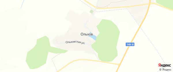 Карта хутора Ольхова в Белгородской области с улицами и номерами домов