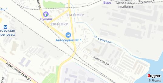 Улица Набережная Серовки в Череповце с номерами домов на карте. Спутник и схема онлайн