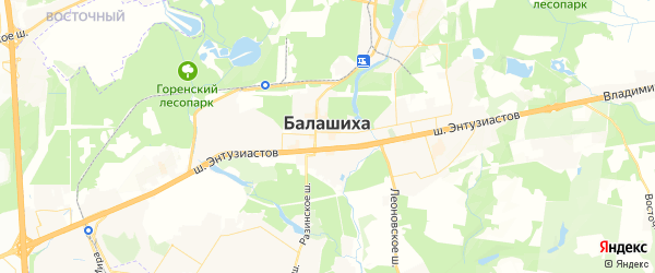 Карта Балашихи с районами, улицами и номерами домов