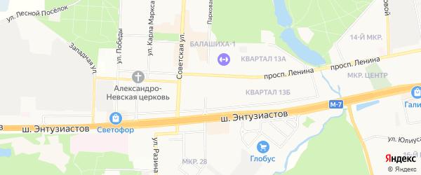 ГСК Каскад на карте Балашихи с номерами домов
