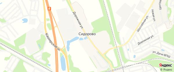 Территория СНТ Темп-2 на карте деревни Сидорово с номерами домов