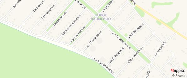 Улица Малиновка на карте села Лапыгино с номерами домов