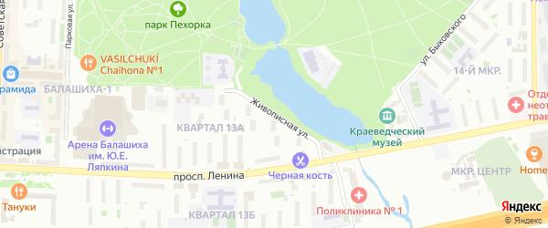 Живописная улица на карте Балашихи с номерами домов