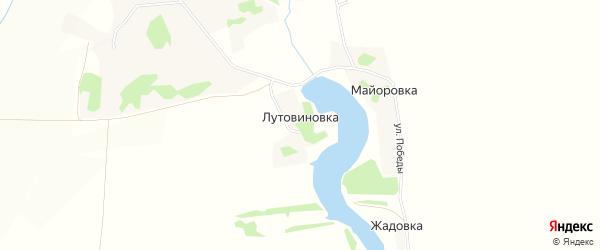 Карта деревни Лутовиновки в Липецкой области с улицами и номерами домов