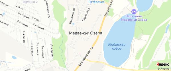 Карта деревни Медвежьи Озера в Московской области с улицами и номерами домов