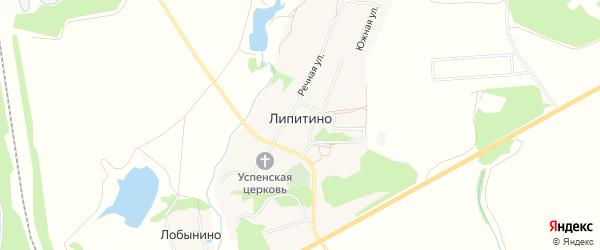 Территория СНТ Волна на карте села Липитино с номерами домов