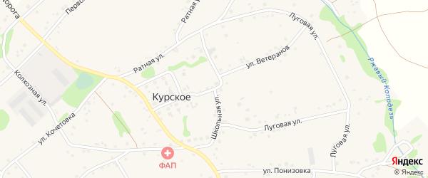 Школьная улица на карте Курского села с номерами домов