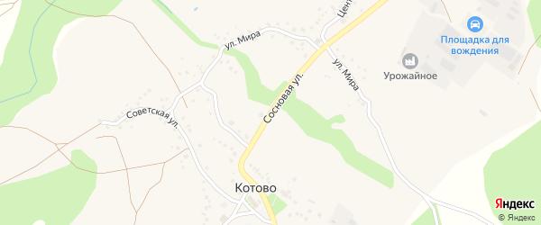 Пролетарская улица на карте села Котово Белгородской области с номерами домов