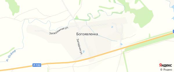 Карта села Богоявленки в Тульской области с улицами и номерами домов
