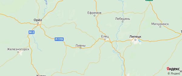 Карта Измалковского района Липецкой области с городами и населенными пунктами