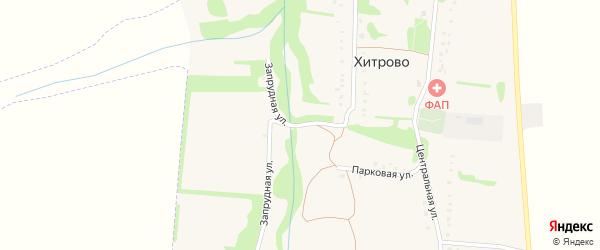 Запрудная улица на карте села Хитрово Белгородской области с номерами домов
