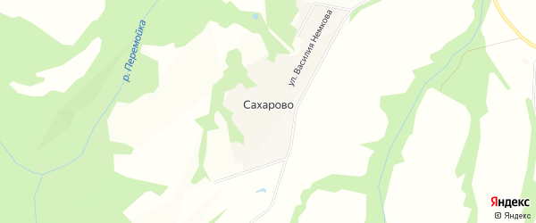 Карта деревни Сахарово в Московской области с улицами и номерами домов