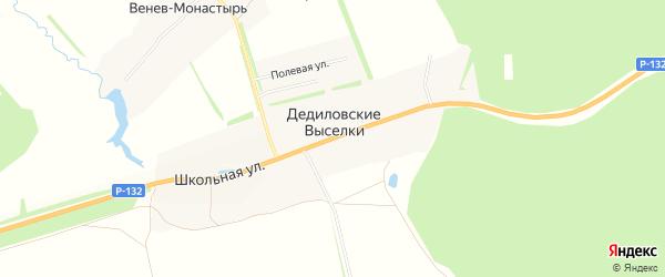 Карта деревни Дедиловские Выселков в Тульской области с улицами и номерами домов