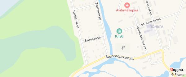 Бытовая улица на карте Онеги с номерами домов