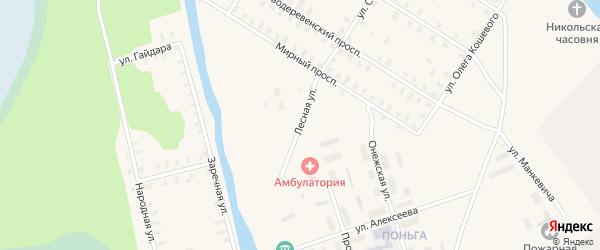 Лесная улица на карте железнодорожной станции Поньги с номерами домов