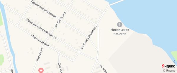 Улица Кошевого на карте железнодорожной станции Поньги с номерами домов
