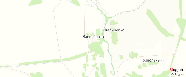 Карта деревни Васильевки в Липецкой области с улицами и номерами домов
