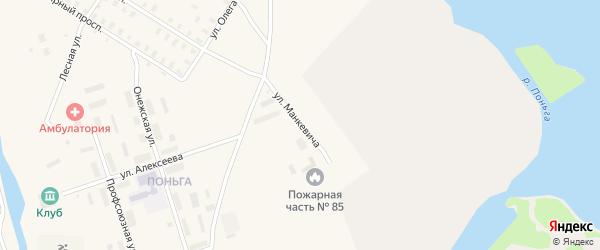 Улица Манкевича на карте Онеги с номерами домов