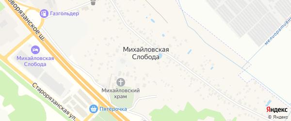 Зеленая улица на карте села Михайловской Слободы с номерами домов
