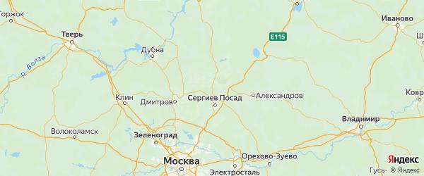 Карта Сергиево-посадского района Московской области с городами и населенными пунктами