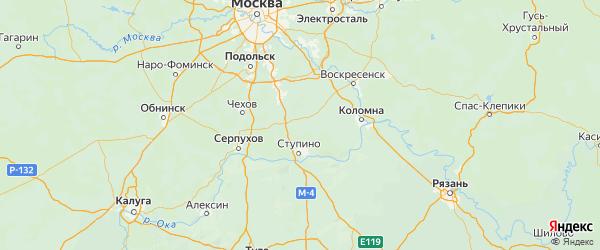 Карта Ступинского района Московской области с городами и населенными пунктами