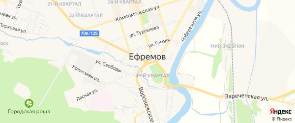 ГСК в районе д.85 по ул Комсомольская территория на карте Ефремова с номерами домов